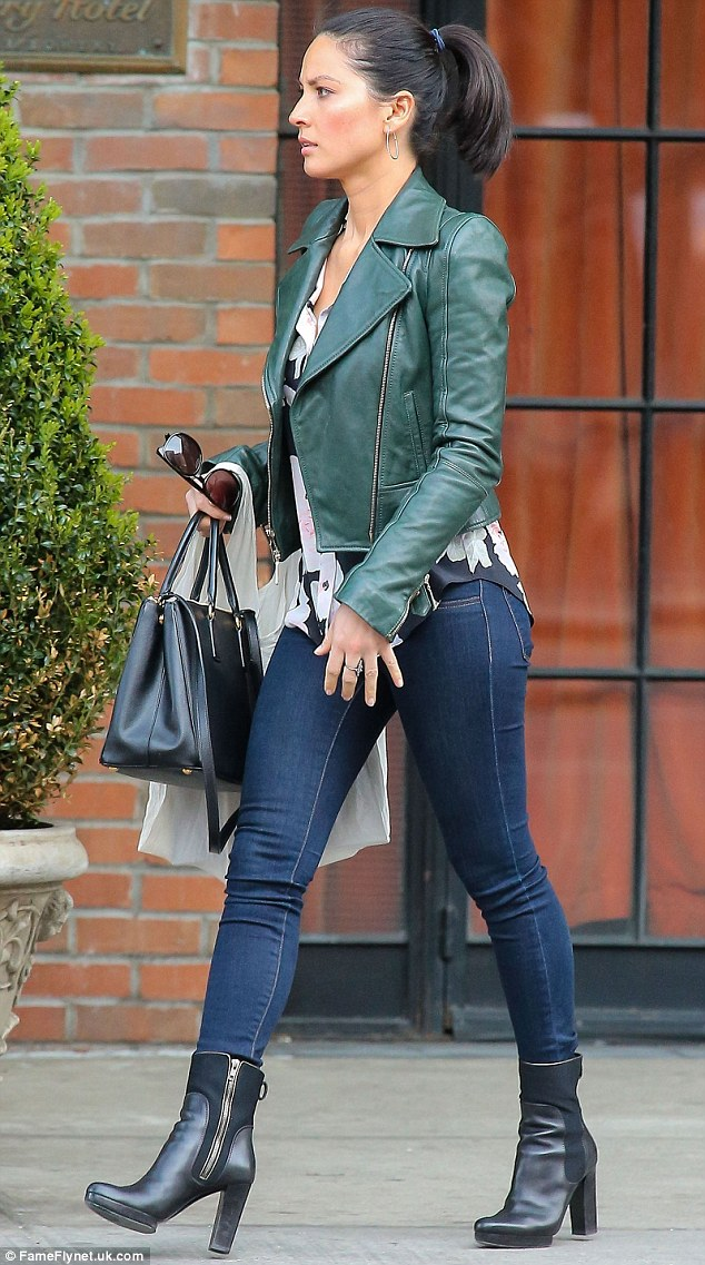 Leather clad: The actress was spotted leaving The Bowery Hotel in New York wearing a leather jacket and boots on Monday