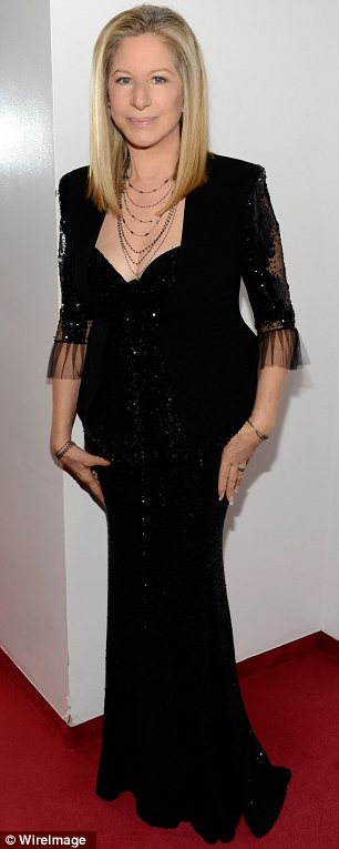 Threatening to steal the spotlight: But Barbra Streisand looked just as stunning in a sequined black gown