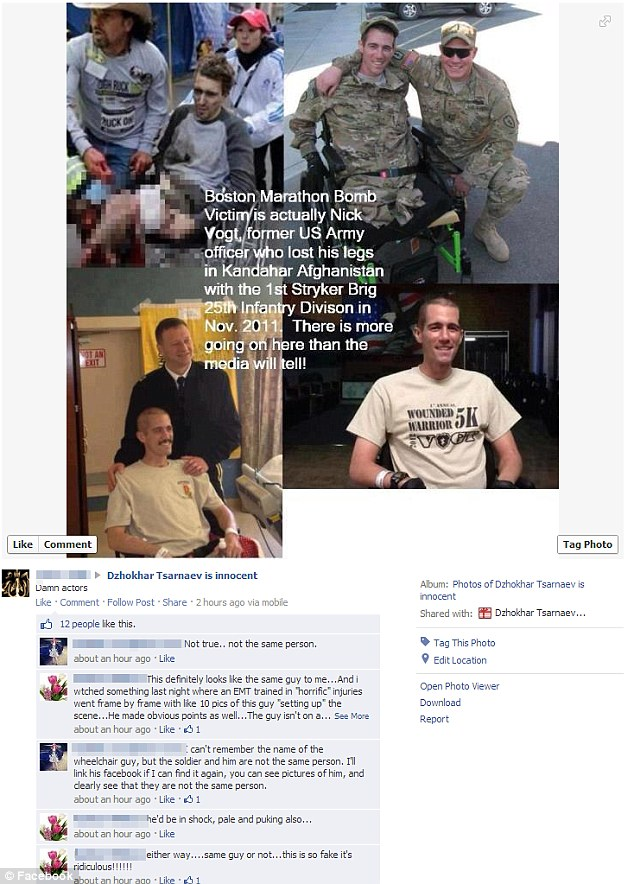 One of the most frequent conspiracy theories accuses the government of faking the horrific injuries of Jeff Bauman by using double-amputee veteran Nick Vogt as a stand-in