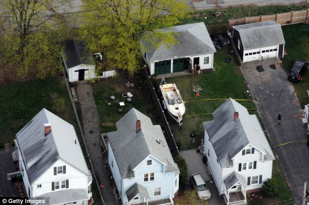 Hideout: Dzhokhar was found hiding in this boat in Watertown on Friday following a massive manhunt