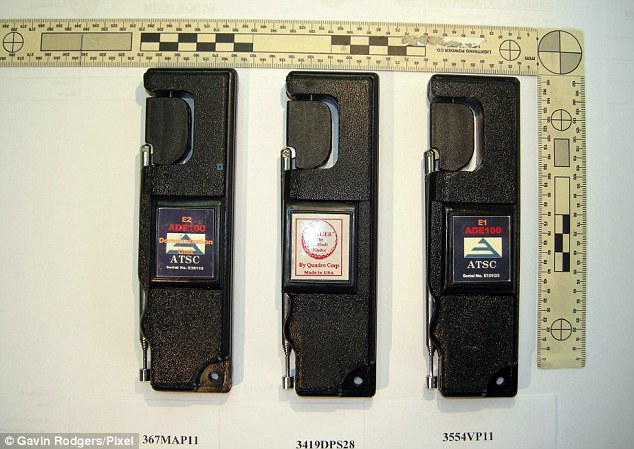Spot the difference: This image shows a golf ball finder (centre) in between two of McCormick adapted versions which he claimed were bona fide bomb detectors