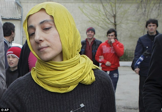 Grief: Zubeidat Tsarnaeva is pictured outside her home in Dagestan, a predominantly Muslim province in Russia's Caucasus