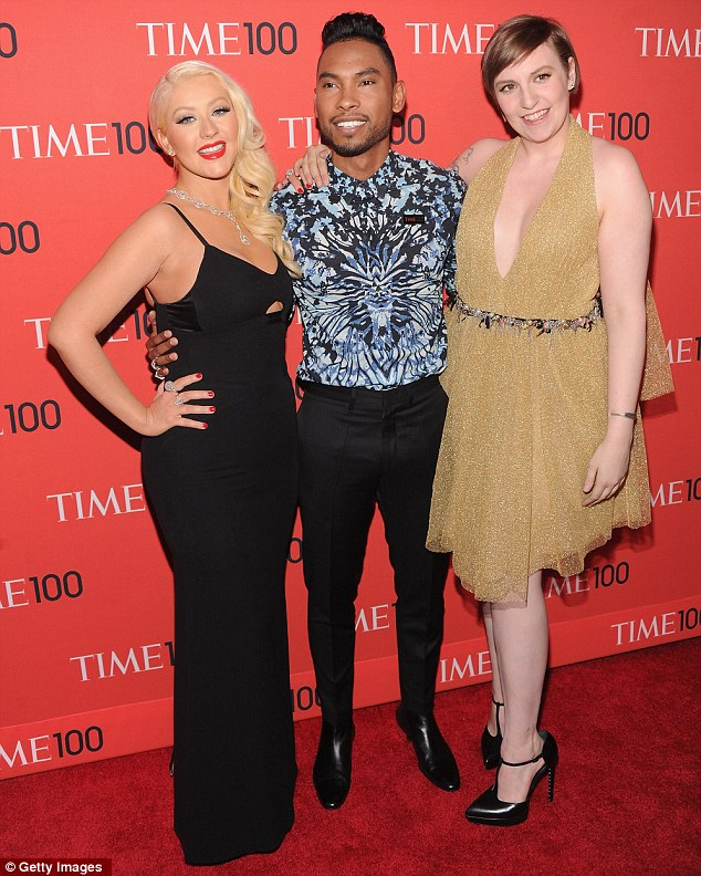 Influential pals: She posed with Miguel and filmmaker Lena Dunham on the red carpet
