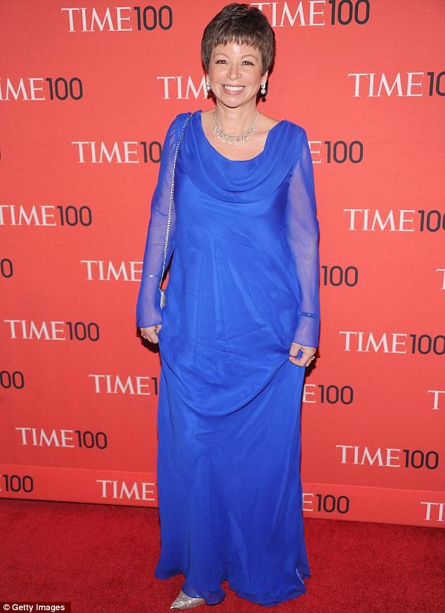 Feeling blue: Senior Advisor to the President of the United States Valerie Jarrett wore a loose number