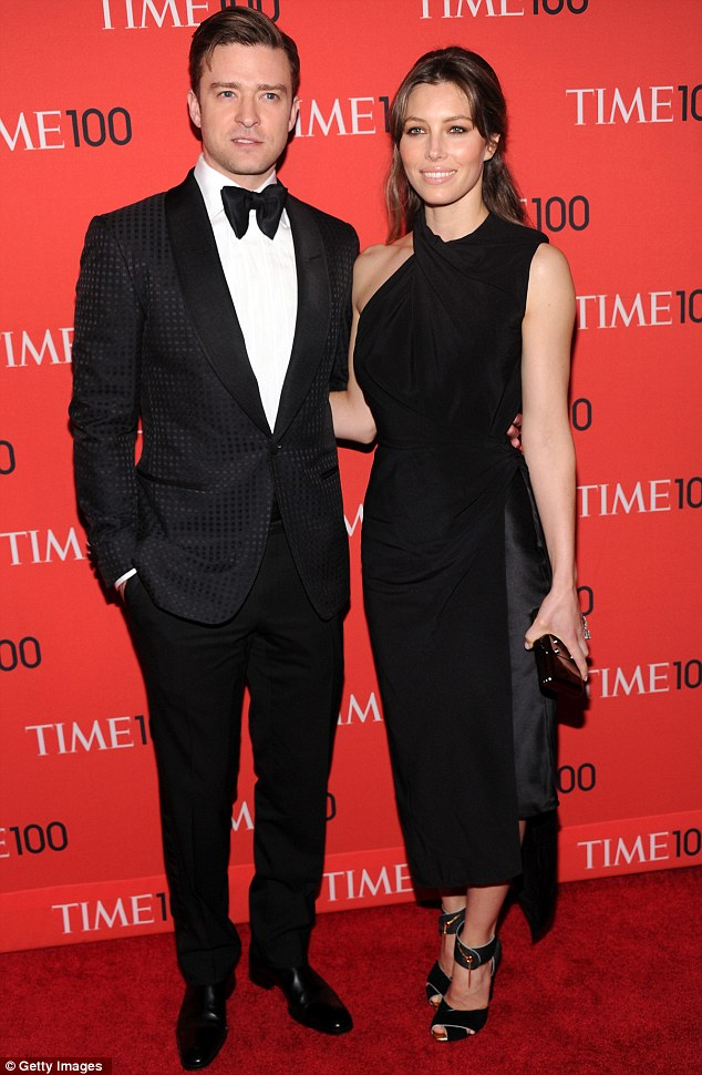 Sharp dressers: Justin Timberlake and Jessica Biel wore dark clothing to the bash