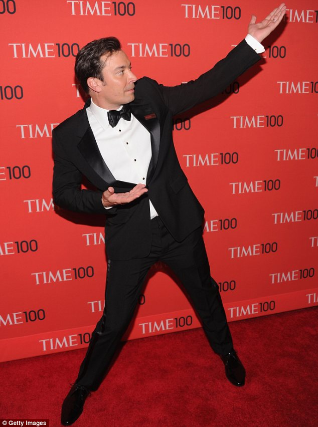 Saturday Night Fever: Jimmy Fallon pulled some shapes on the red carpet much to everyone's amusement