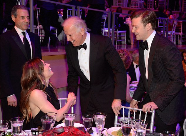 Firm handshake: Jessica and Vice President of The United States Joe Biden got chatting at dinner