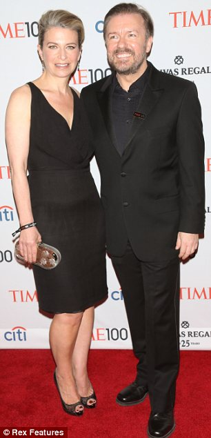 Lots of laughter: Jimmy was joined by wife Nancy Juvonen while his fellow comedian Ricky Gervais had wife Jane Fallon by his side