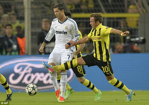 Backlash: Mario Gotze played all 90 minutes for Borussia Dortmund against Real Madrid on Wednesday