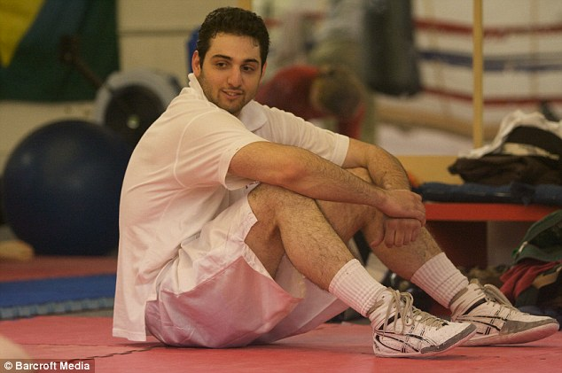 Tamerlan Tsarnaev practices boxing at the Wai Kru Mixed Martial Arts center in April 2009 in Boston, Massachusetts