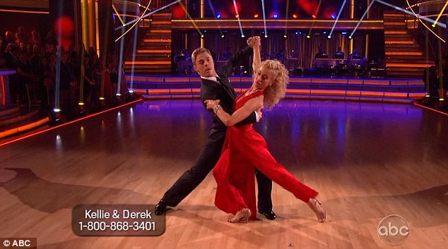 Hot couple: Kellie had impressed with the quickstep as she danced with Derek Hough on Monday