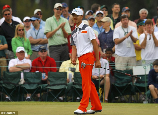Putting machine: Guan was an absolute demon on the tricky greens at Augusta National