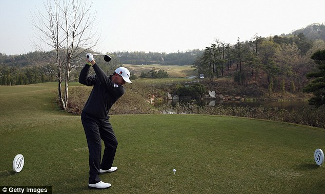 Warming up: Scotland's Paul Lawrie in action during the Pro-Am ahead of the Ballantine's Championship