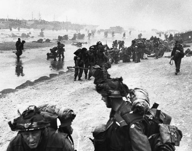 After the initial landings on Sword Beach, British troops moved off the beach and pushed inland towards Caen. Sword was the most easterly of the landing beaches. British troops also landed at beaches codenamed Juno and Gold near Arromanches and Courseulles