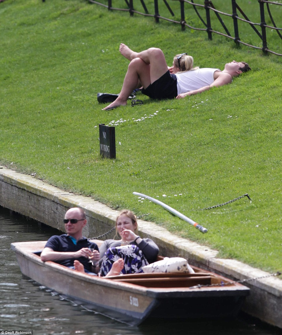 Relaxing: Fine weather in Cambridge today... but unfortunately it will be gone by the weekend