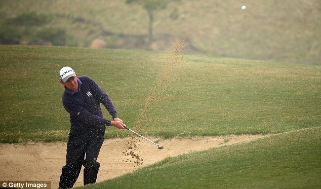 Battling away: Peter Lawrie is just a shot behind the leaders at Blackstone Golf Club