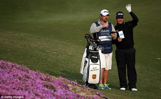 Star attraction: South African big gun Louis Oosthuizen is just a shot off the pace at the Ballantine's Championship
