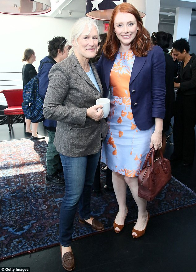 Catching up over coffee: The Help star was seen chatting away to a casually dressed and make-up free Glenn Close