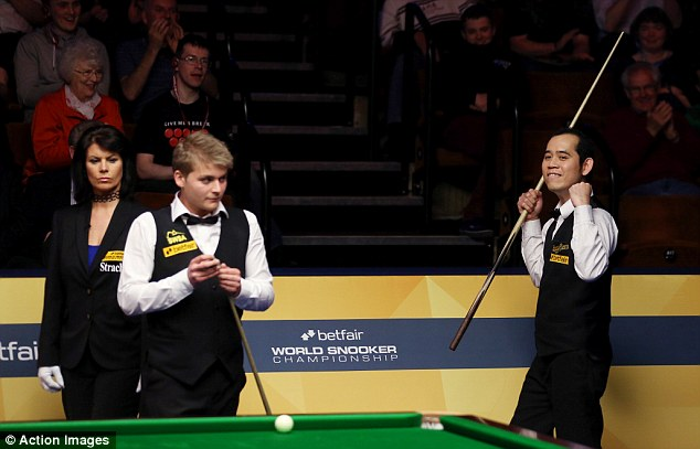 Making his mark: Poomjaeng is the talk of Sheffield during the opening week of the World Championship