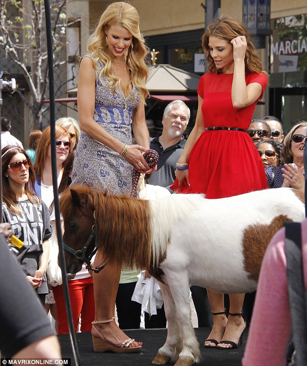Horse tales: Beth Stern brings a miniature pony onto the set of Extra on Thursday to promote her new TV show Spoiled Rotten Pets