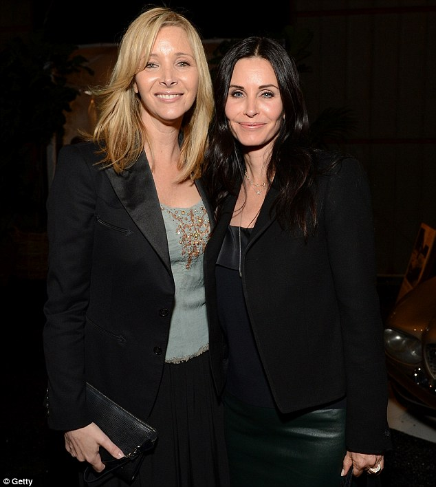 Friendly rivalry: Courteney Cox will no doubt rue being outshone by Lisa Kurdrow at an art opening in Los Angeles on Thursday