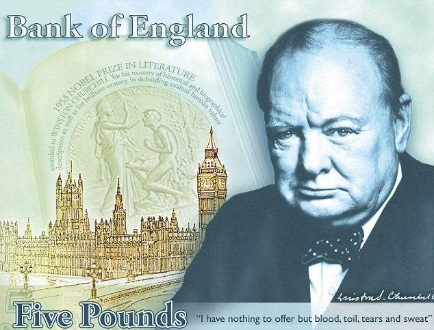 Honour: Great Briton Sir Winston Churchill is to appear on the new £5 note from 2016, the Bank of England has announced