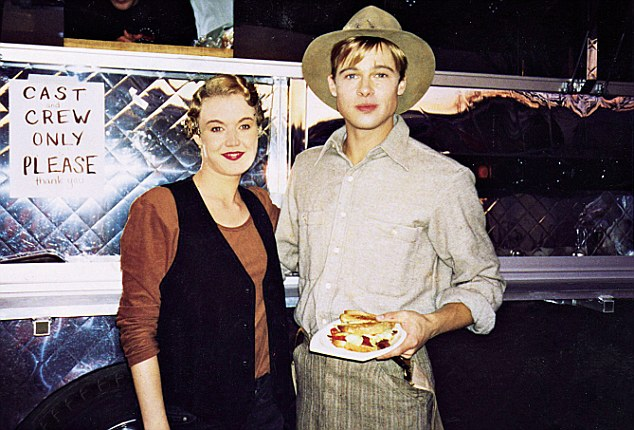 EEmily with Brad Pitt, her co-star in A River Runs Through It. 'On set, he took great delight in telling me I'd spurned his advances, not once but twice,' she said