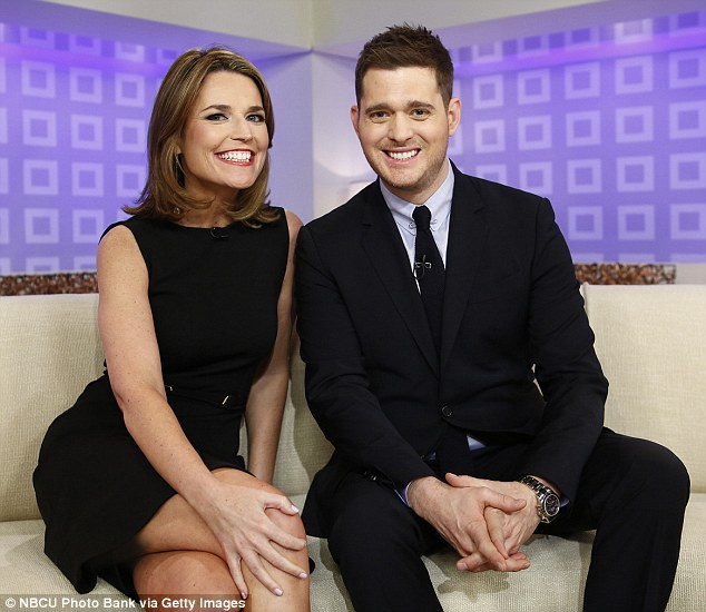 All smiles: The multi-Grammy winner pictured with Today Show host Savannah Guthrie on Wednesday