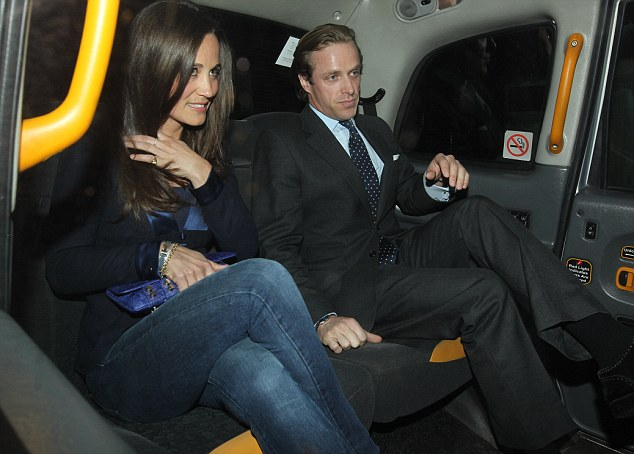 Letting her hair down: The night before, Pippa had partied with friend Tom Kingston