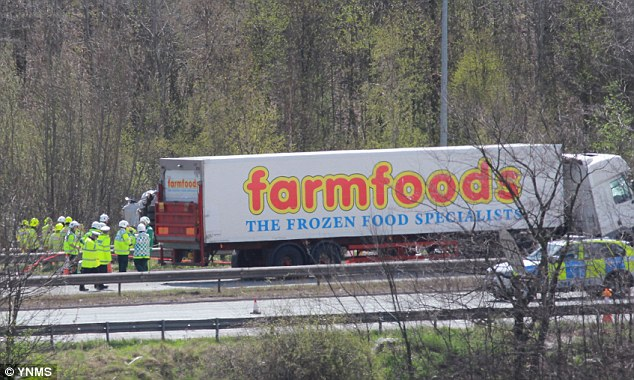 Lorry crash: The driver of this farmfoods lorry has been arrested following the crash today