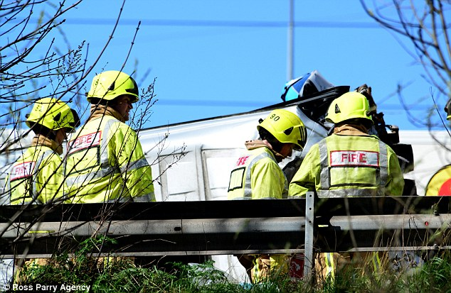 Wreckage: Firefighters work near the spot where the crash happened. The mangled minibus can be seen in the background