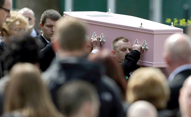 Tributes: People at the funeral wore justice for Jade T-Shirts, as there is unlikely to be any prosecutions over her death
