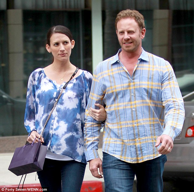 Happy parents: 90210 star Ian Ziering and wife Erin Kristine Ludwig leaving the hospital in March before she gave birth to their second daughter on their first daughter's birthday