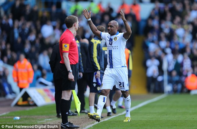 Never learns: Diouf was still gesticulating to the crowd even after he was sent off