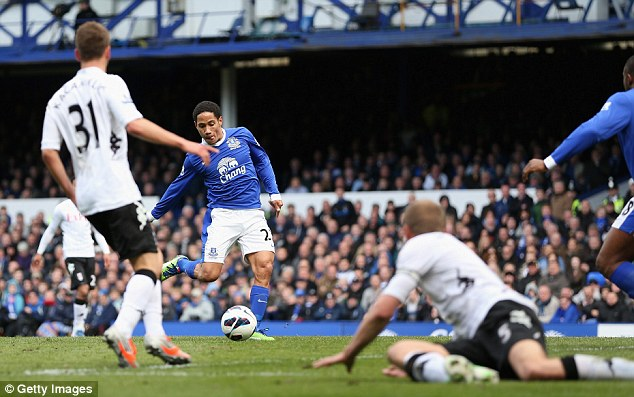 Crisp Toffee: Pienaar side foots the ball past the stranded Fulham defence to put Everton ahead