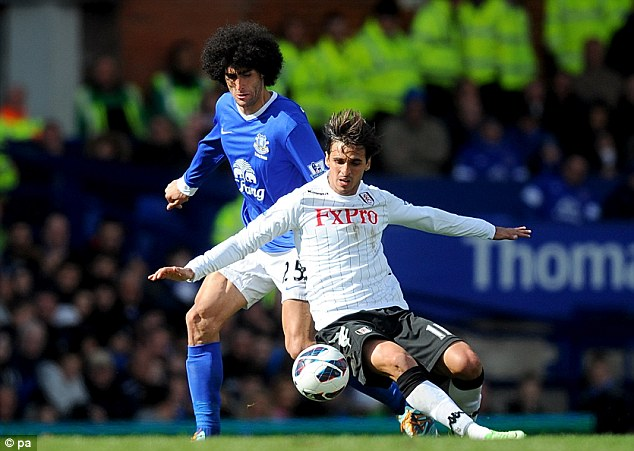 Foul: Bryan Ruiz is pulled down by Fellaini as he tries to shield the ball