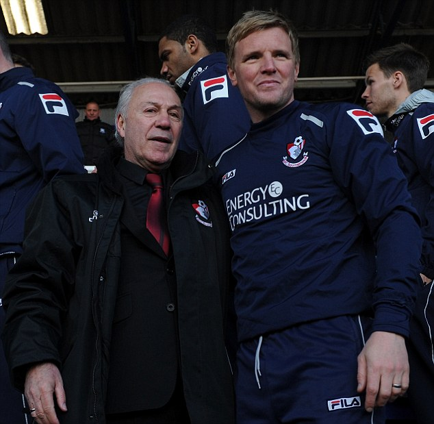 Job done: Eddie Howe watched his Bournemouth side as they drew 0-0 at Tranmere