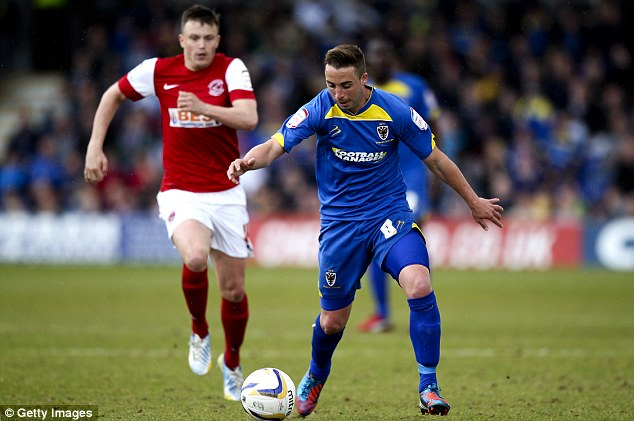 Dogfight: Sammy Moore (right) of AFC Wimbledon took on Fleetwood