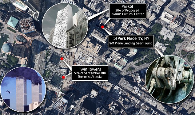 Intact: The gear found mere blocks from Ground Zero, and bears a clear Boeing ID mark
