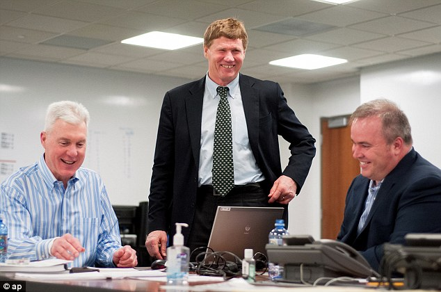 'Crucial': President Mark Murphy, center, said leaving enough space under the salary cap to consistently field a competitive team around Rodgers for the life of his deal was 'crucial'