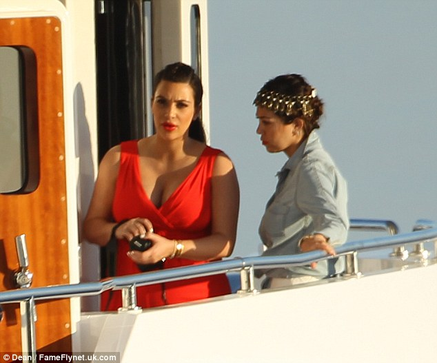 Kim and her family enjoyed a bit of sight seeing earlier in the day on a boat ride around the Greek island