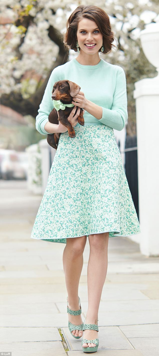 Cashmere jumper, £120, jaeger.co.uk; Jacquard skirt, £390, Giles at avenue32.com; Chandelier earrings, £45, stelladot.co.uk; Cut-out platform sandals, £225, lkbennett.com