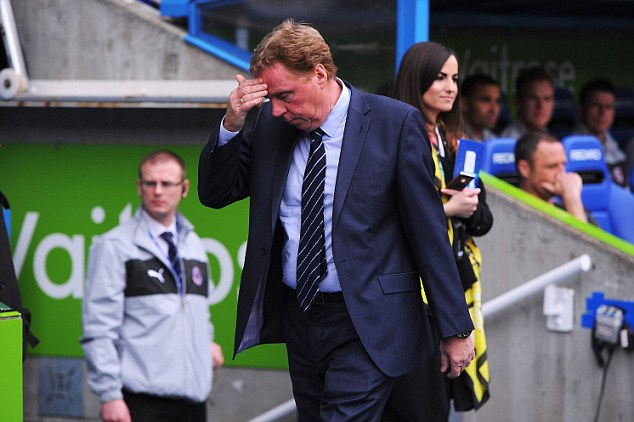 Looking bleak: QPR boss Harry Redknapp reacts at the Madejski Stadium