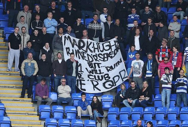 Story of their season: QPR fans vent their feelings at the Madejski Stadium
