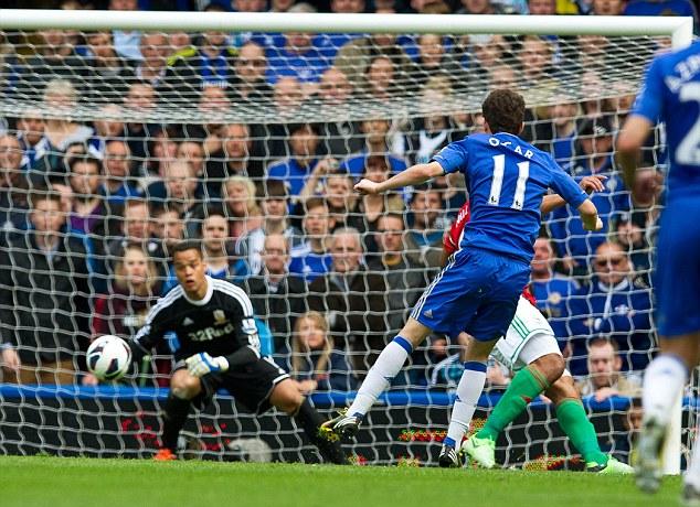 Breakthrough: Oscar fired Chelsea ahead against Swansea