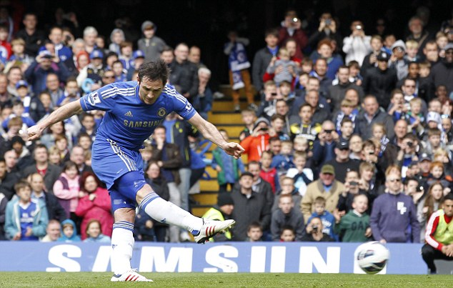 Spot on: Frank Lampard doubled Chelsea's lead from the penalty spot