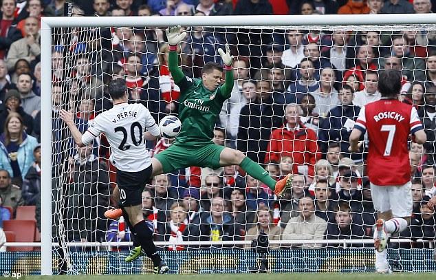 Denied: Robin van Persie sees his header saved by Arsenal's Wojciech Szczesny