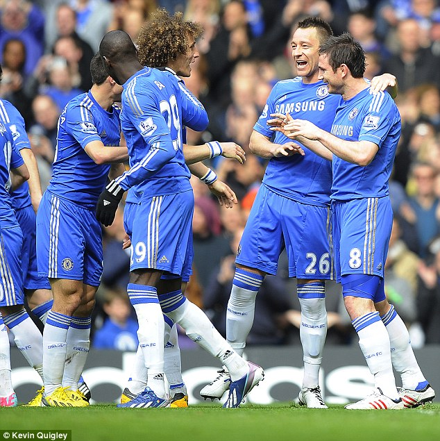 Blue is the colour: Chelsea continued their push for a Champions League spot with a win over Swansea