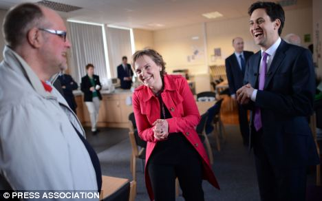 Ed Miliband and Justine with her former maths teacher Paul Bray at Justine's old school, West Bridgford School in Nottingham