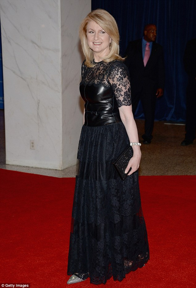 Media mogul: Arianna Huffington was elegant in a black lace gown that featured a leather bustier top